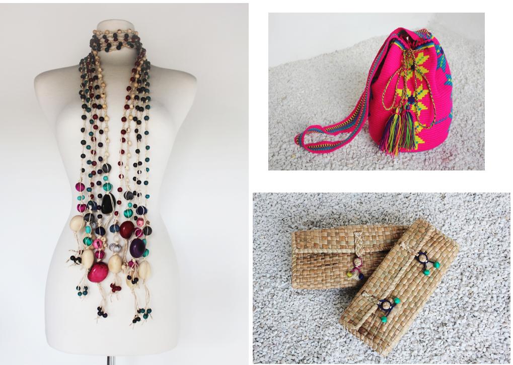Collar de semilla de tagua, bolso tejido Wayuu y sobres Bora